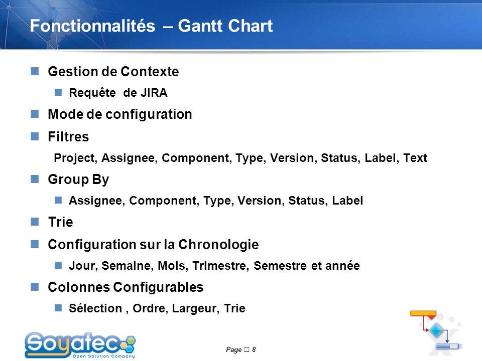Page  8 Fonctionnalités – Gantt Chart Gestion de Contexte Requête de JIRA Mode de configuration Filtres Project, Assignee, Component, Type, Version,