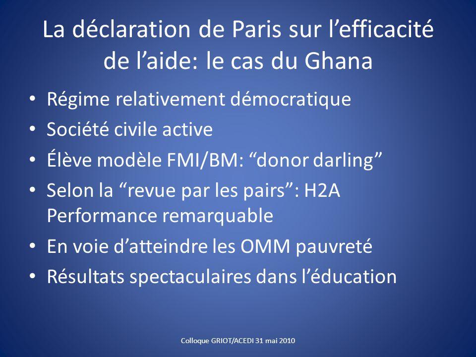 La déclaration de Paris sur l'efficacité de l'aide: le cas du Ghana Régime relativement démocratique Société civile active Élève modèle FMI/BM: donor darling Selon la revue par les pairs : H2A Performance remarquable En voie d'atteindre les OMM pauvreté Résultats spectaculaires dans l'éducation Colloque GRIOT/ACEDI 31 mai 2010