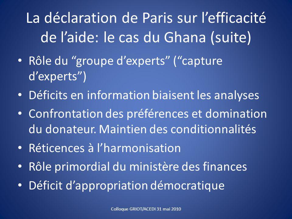 La déclaration de Paris sur l'efficacité de l'aide: le cas du Ghana (suite) Rôle du groupe d'experts ( capture d'experts ) Déficits en information biaisent les analyses Confrontation des préférences et domination du donateur.