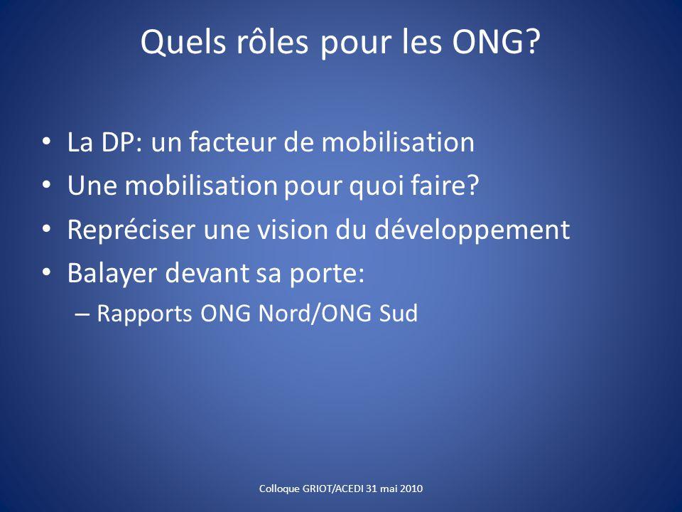 Quels rôles pour les ONG? La DP: un facteur de mobilisation Une mobilisation pour quoi faire? Repréciser une vision du développement Balayer devant sa