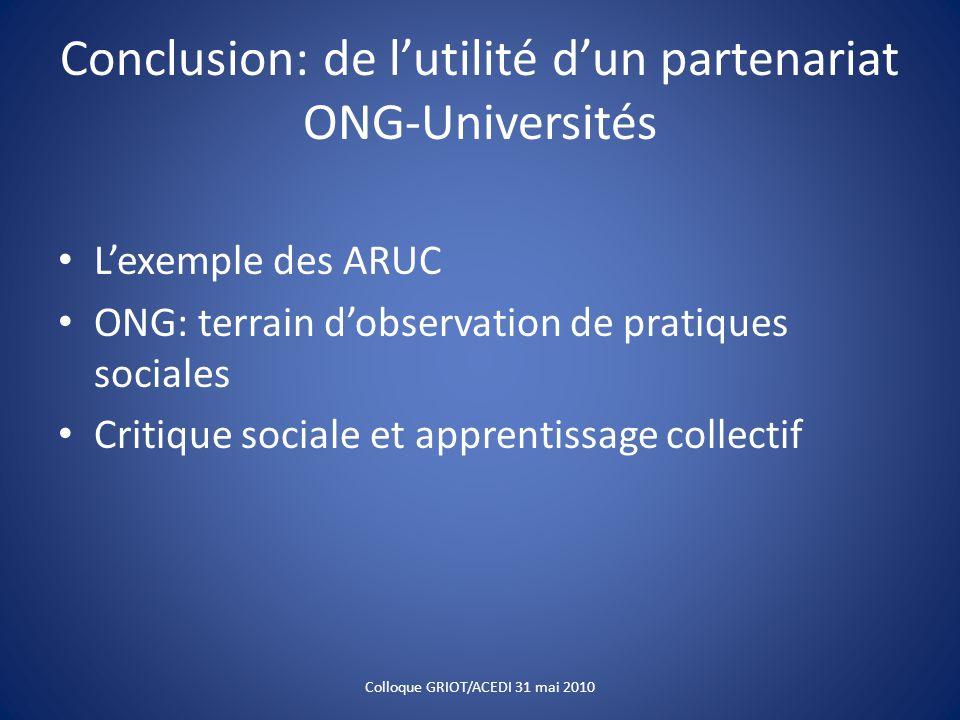 Conclusion: de l'utilité d'un partenariat ONG-Universités L'exemple des ARUC ONG: terrain d'observation de pratiques sociales Critique sociale et apprentissage collectif Colloque GRIOT/ACEDI 31 mai 2010
