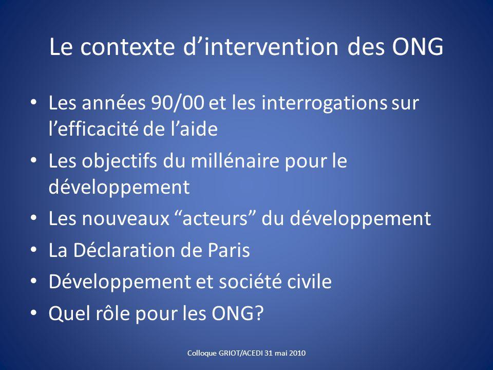 Le contexte d'intervention des ONG Les années 90/00 et les interrogations sur l'efficacité de l'aide Les objectifs du millénaire pour le développement Les nouveaux acteurs du développement La Déclaration de Paris Développement et société civile Quel rôle pour les ONG.