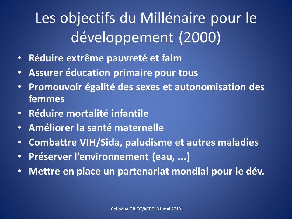 Les objectifs du Millénaire pour le développement (2000) Réduire extrême pauvreté et faim Assurer éducation primaire pour tous Promouvoir égalité des