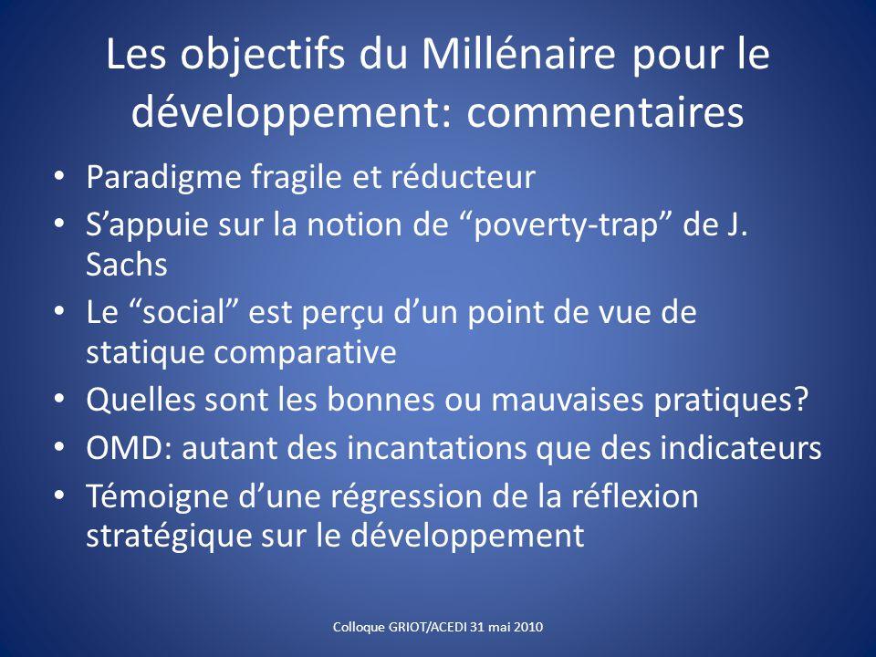 """Les objectifs du Millénaire pour le développement: commentaires Paradigme fragile et réducteur S'appuie sur la notion de """"poverty-trap"""" de J. Sachs Le"""