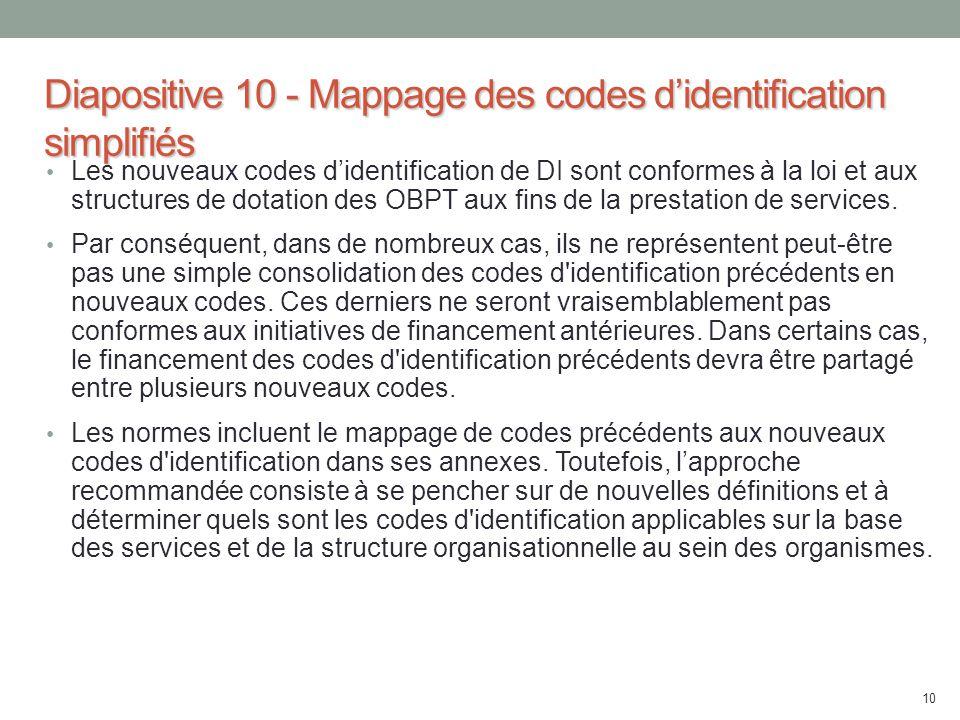 Diapositive 10 - Mappage des codes d'identification simplifiés Les nouveaux codes d'identification de DI sont conformes à la loi et aux structures de