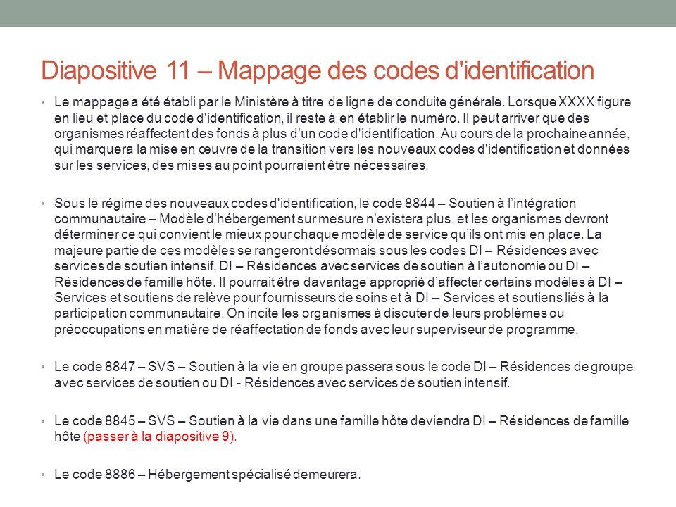 Diapositive 11 – Mappage des codes d'identification Le mappage a été établi par le Ministère à titre de ligne de conduite générale. Lorsque XXXX figur