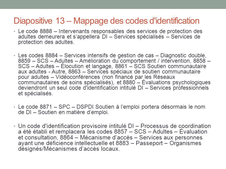 Diapositive 13 – Mappage des codes d'identification Le code 8888 – Intervenants responsables des services de protection des adultes demeurera et s'app