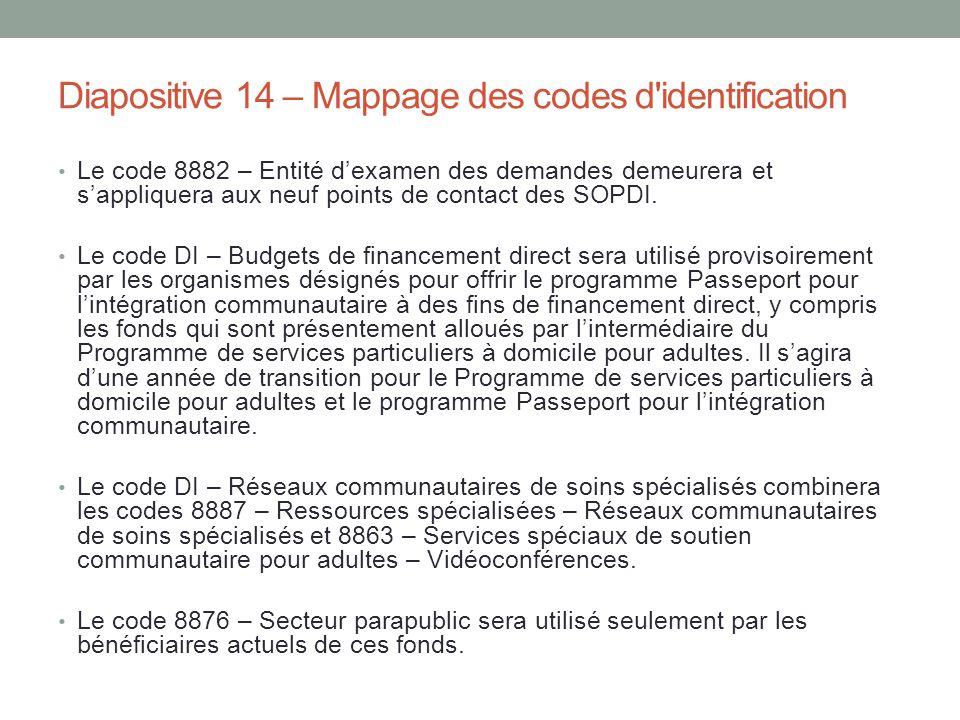 Diapositive 14 – Mappage des codes d'identification Le code 8882 – Entité d'examen des demandes demeurera et s'appliquera aux neuf points de contact d