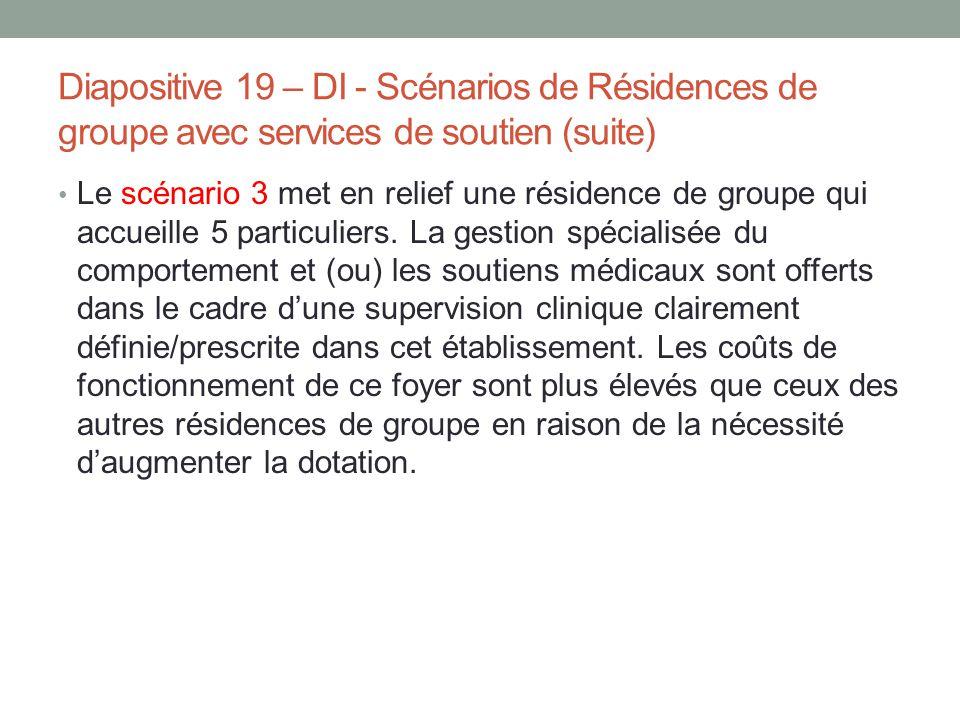 Diapositive 19 – DI - Scénarios de Résidences de groupe avec services de soutien (suite) Le scénario 3 met en relief une résidence de groupe qui accue