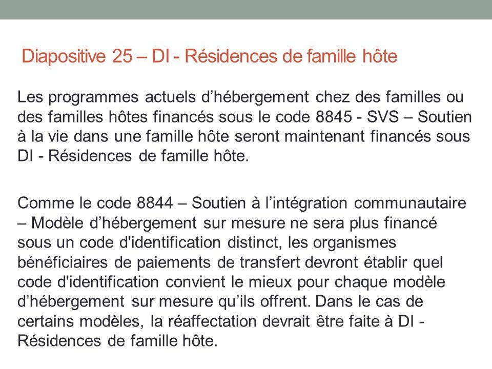 Diapositive 25 – DI - Résidences de famille hôte Les programmes actuels d'hébergement chez des familles ou des familles hôtes financés sous le code 88
