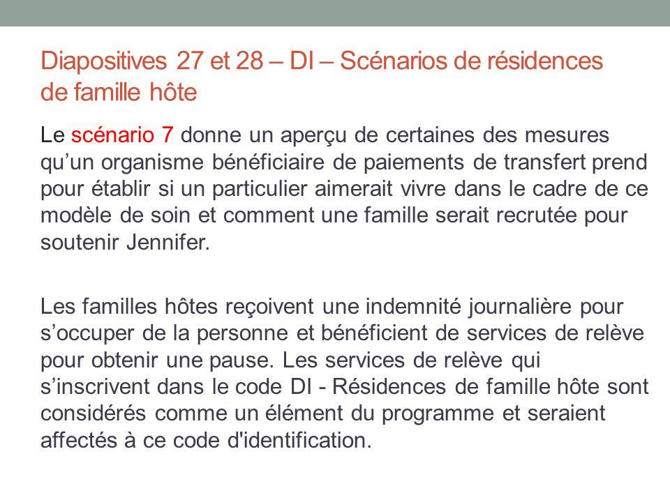 Diapositives 27 et 28 – DI – Scénarios de résidences de famille hôte Le scénario 7 donne un aperçu de certaines des mesures qu'un organisme bénéficiai