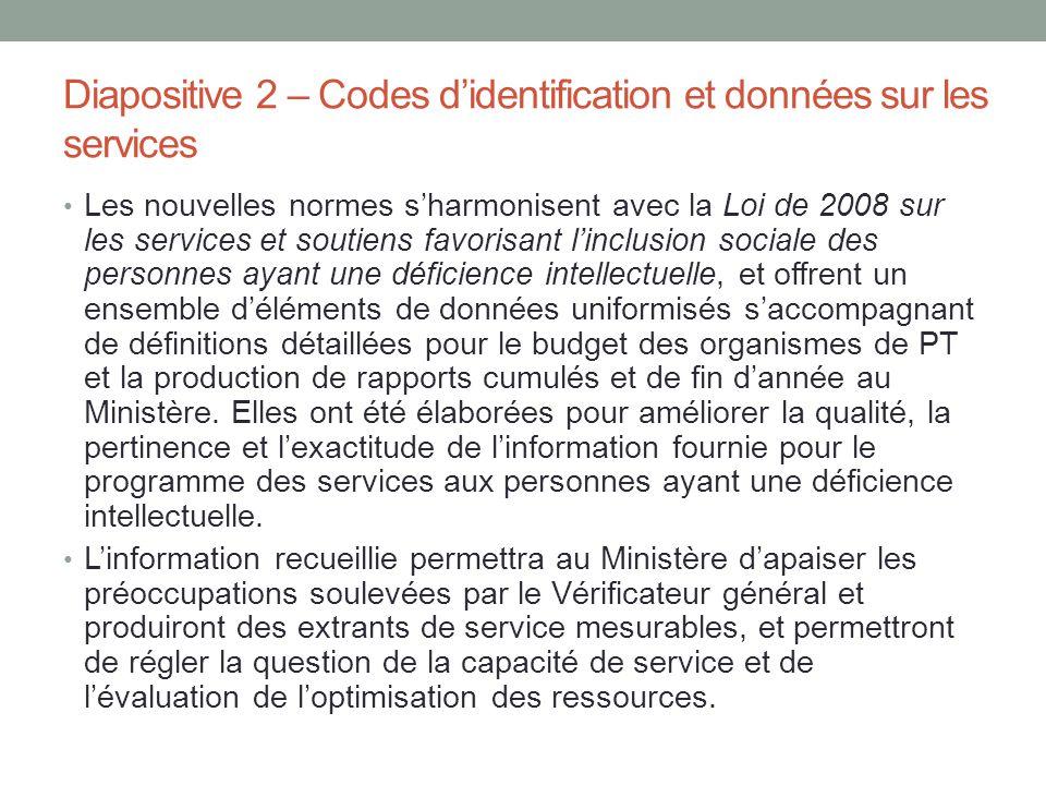Diapositive 2 – Codes d'identification et données sur les services Les nouvelles normes s'harmonisent avec la Loi de 2008 sur les services et soutiens