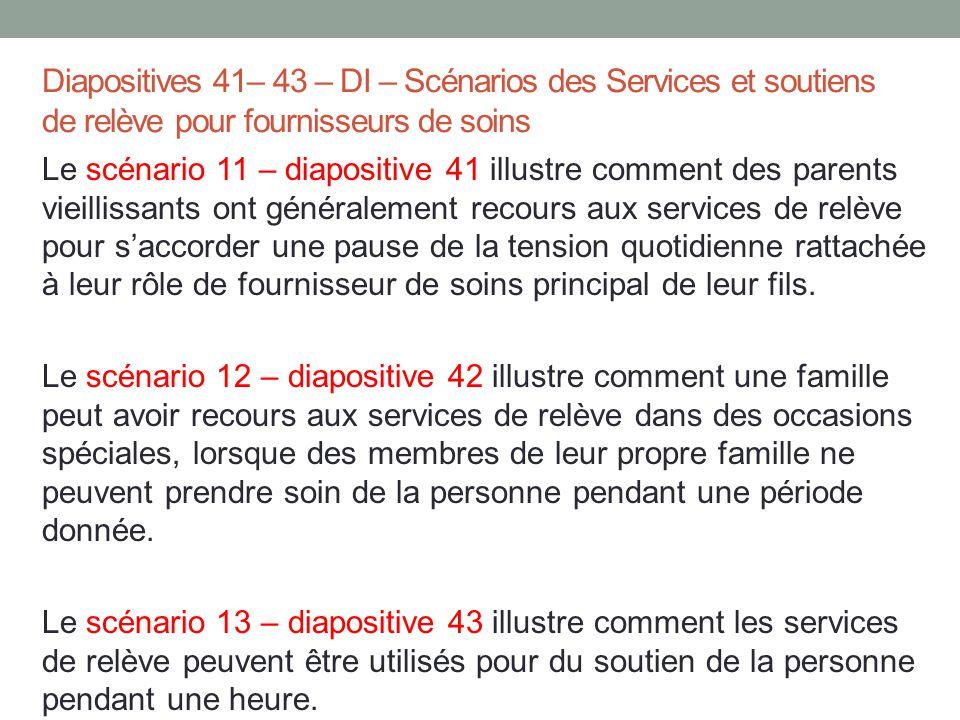 Diapositives 41– 43 – DI – Scénarios des Services et soutiens de relève pour fournisseurs de soins Le scénario 11 – diapositive 41 illustre comment de