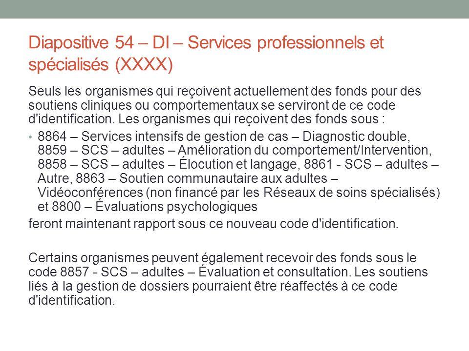 Diapositive 54 – DI – Services professionnels et spécialisés (XXXX) Seuls les organismes qui reçoivent actuellement des fonds pour des soutiens cliniq