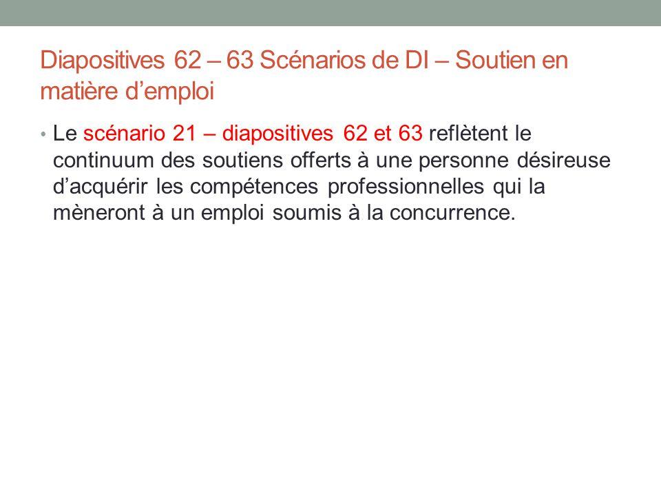 Diapositives 62 – 63 Scénarios de DI – Soutien en matière d'emploi Le scénario 21 – diapositives 62 et 63 reflètent le continuum des soutiens offerts