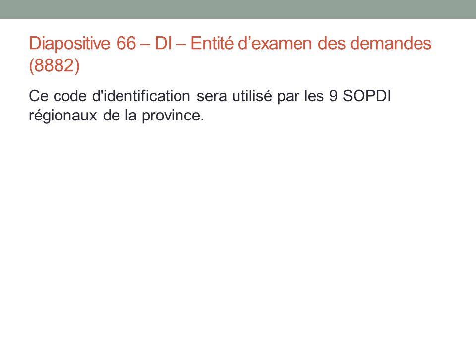Diapositive 66 – DI – Entité d'examen des demandes (8882) Ce code d'identification sera utilisé par les 9 SOPDI régionaux de la province.