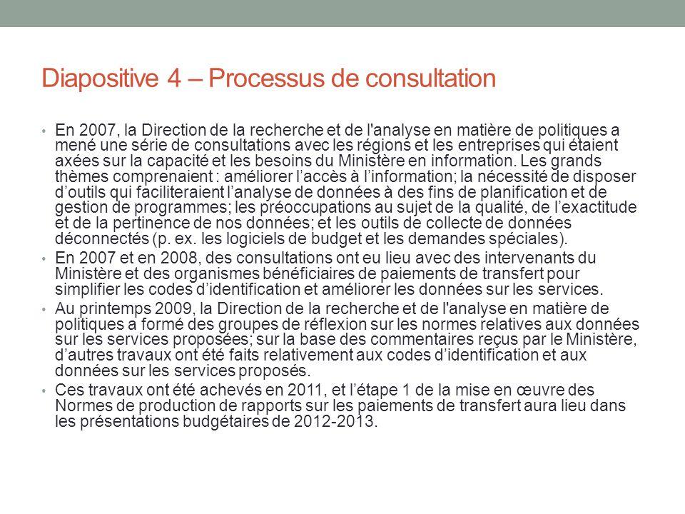 Diapositive 4 – Processus de consultation En 2007, la Direction de la recherche et de l'analyse en matière de politiques a mené une série de consultat