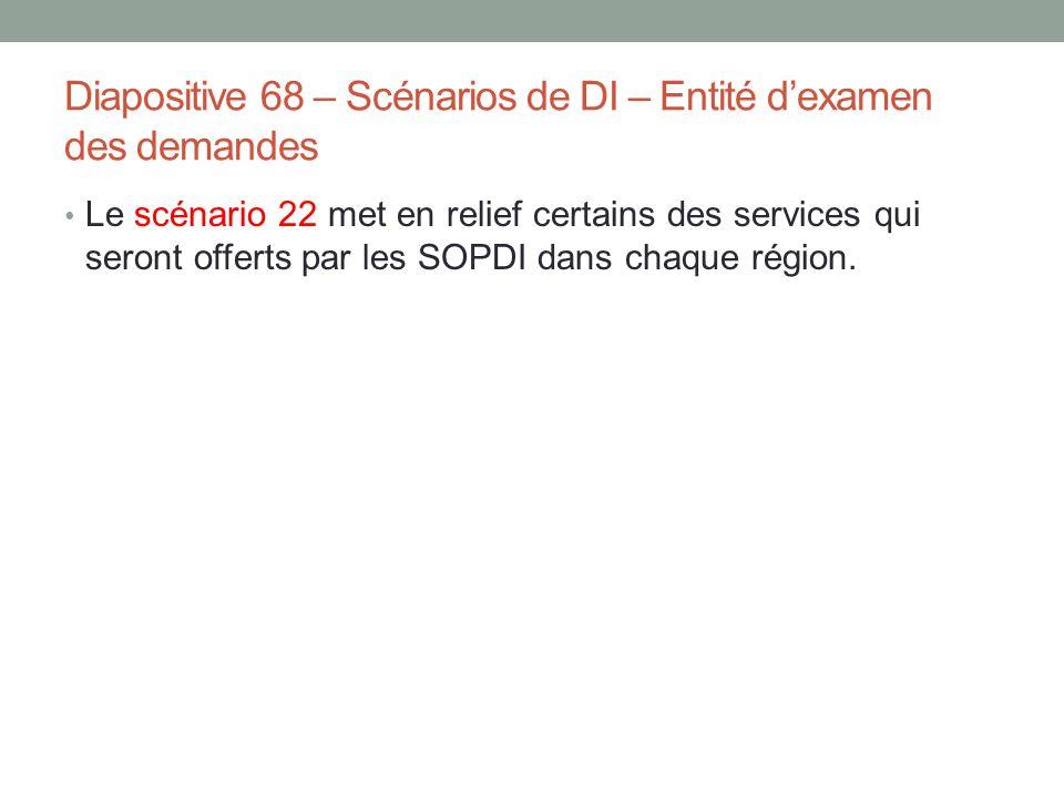 Diapositive 68 – Scénarios de DI – Entité d'examen des demandes Le scénario 22 met en relief certains des services qui seront offerts par les SOPDI da