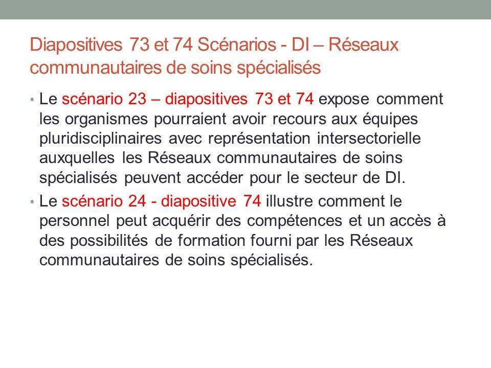 Diapositives 73 et 74 Scénarios - DI – Réseaux communautaires de soins spécialisés Le scénario 23 – diapositives 73 et 74 expose comment les organisme
