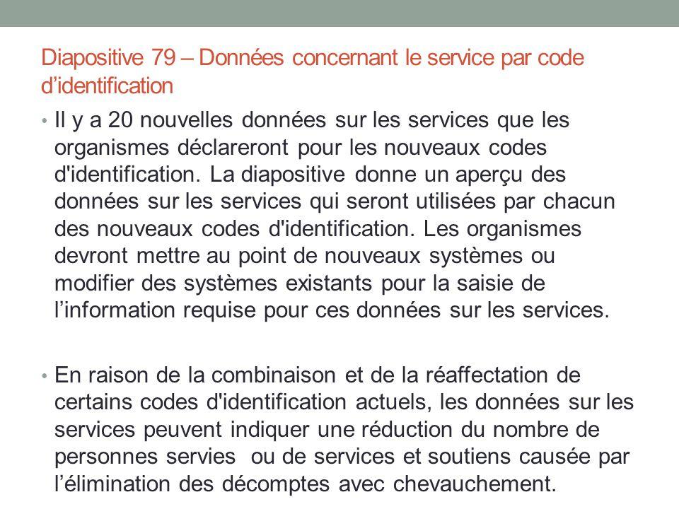 Diapositive 79 – Données concernant le service par code d'identification Il y a 20 nouvelles données sur les services que les organismes déclareront p