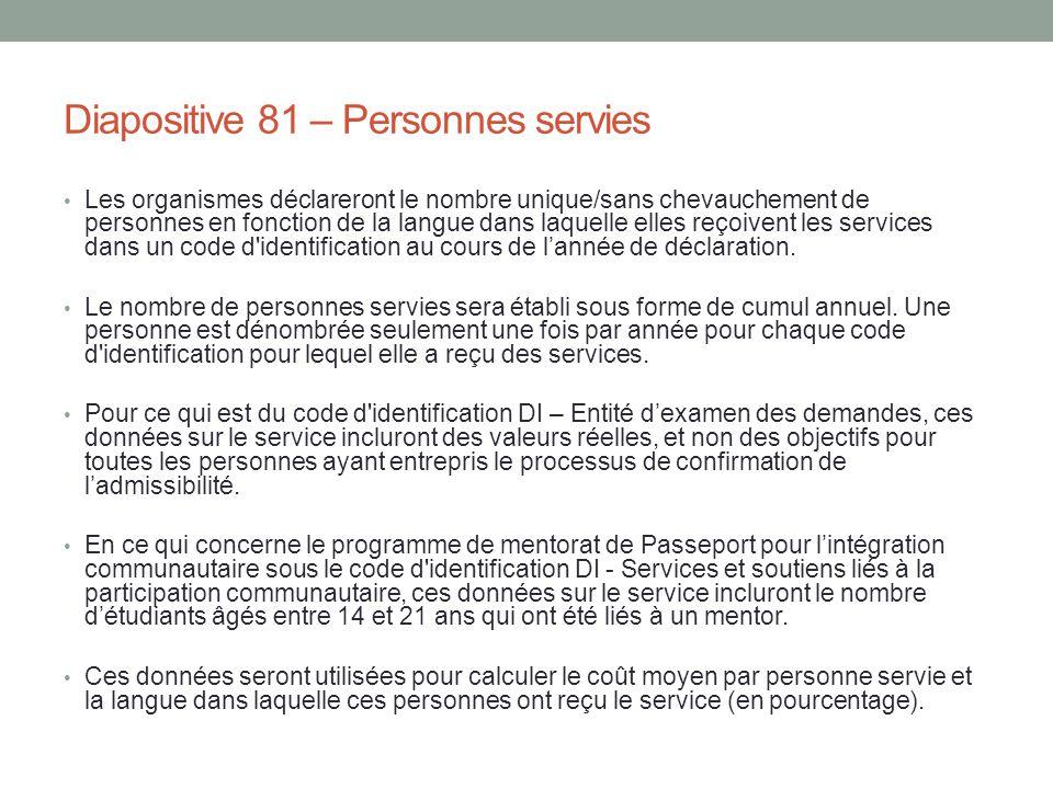 Diapositive 81 – Personnes servies Les organismes déclareront le nombre unique/sans chevauchement de personnes en fonction de la langue dans laquelle