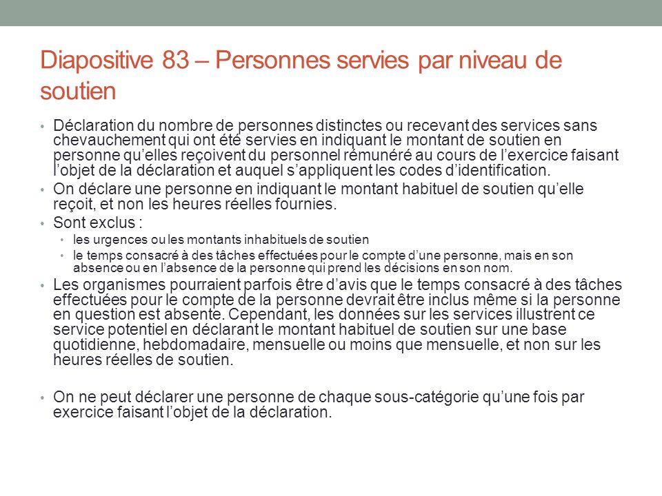 Diapositive 83 – Personnes servies par niveau de soutien Déclaration du nombre de personnes distinctes ou recevant des services sans chevauchement qui