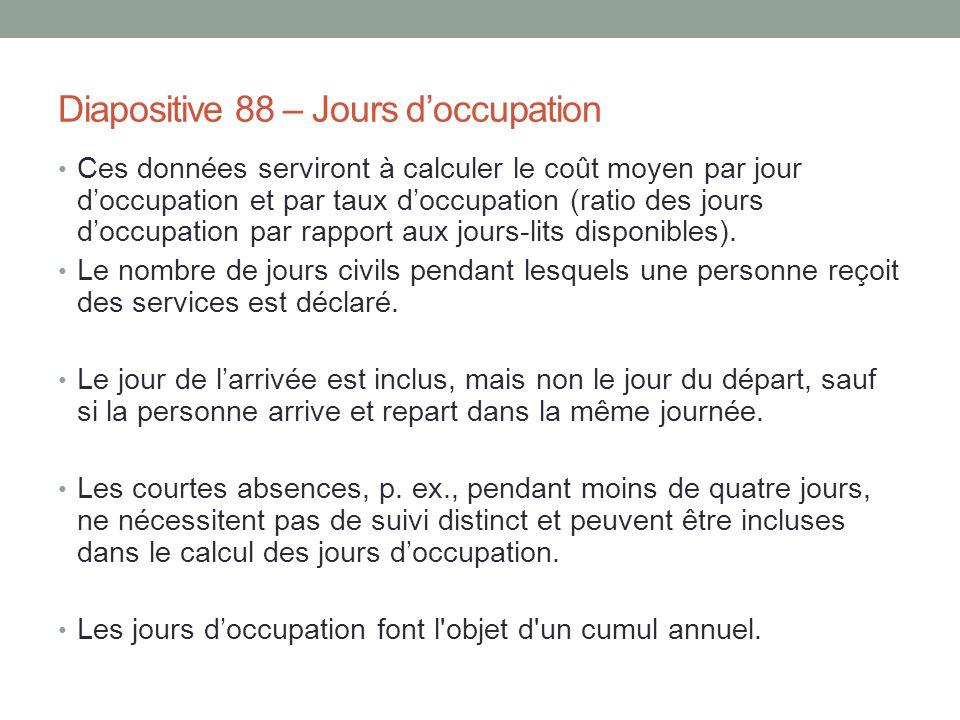 Diapositive 88 – Jours d'occupation Ces données serviront à calculer le coût moyen par jour d'occupation et par taux d'occupation (ratio des jours d'o