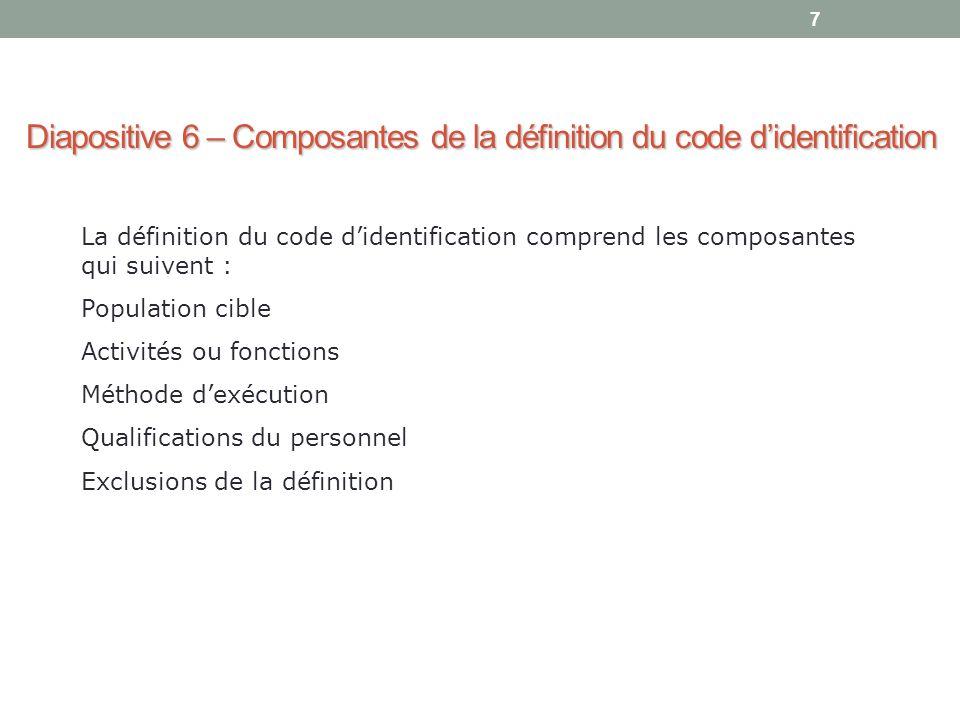 7 Diapositive 6 – Composantes de la définition du code d'identification La définition du code d'identification comprend les composantes qui suivent :