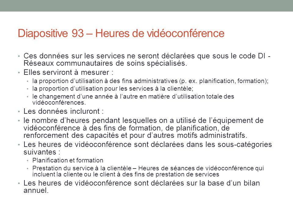 Diapositive 93 – Heures de vidéoconférence Ces données sur les services ne seront déclarées que sous le code DI - Réseaux communautaires de soins spéc