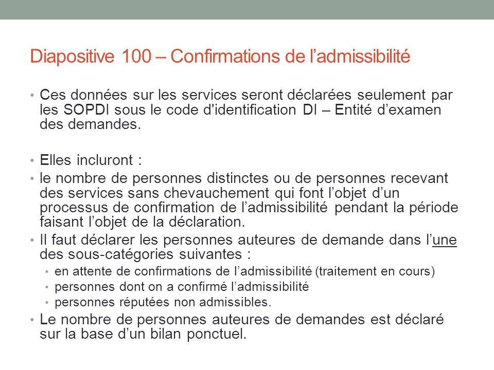 Diapositive 100 – Confirmations de l'admissibilité Ces données sur les services seront déclarées seulement par les SOPDI sous le code d'identification