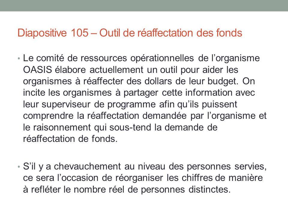 Diapositive 105 – Outil de réaffectation des fonds Le comité de ressources opérationnelles de l'organisme OASIS élabore actuellement un outil pour aid