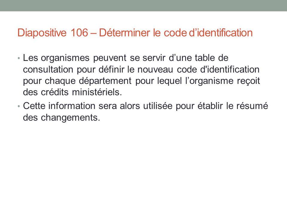 Diapositive 106 – Déterminer le code d'identification Les organismes peuvent se servir d'une table de consultation pour définir le nouveau code d'iden