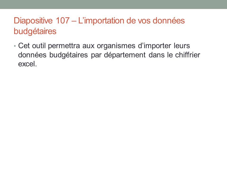 Diapositive 107 – L'importation de vos données budgétaires Cet outil permettra aux organismes d'importer leurs données budgétaires par département dan