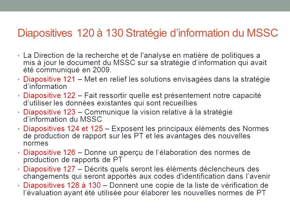 Diapositives 120 à 130 Stratégie d'information du MSSC La Direction de la recherche et de l'analyse en matière de politiques a mis à jour le document