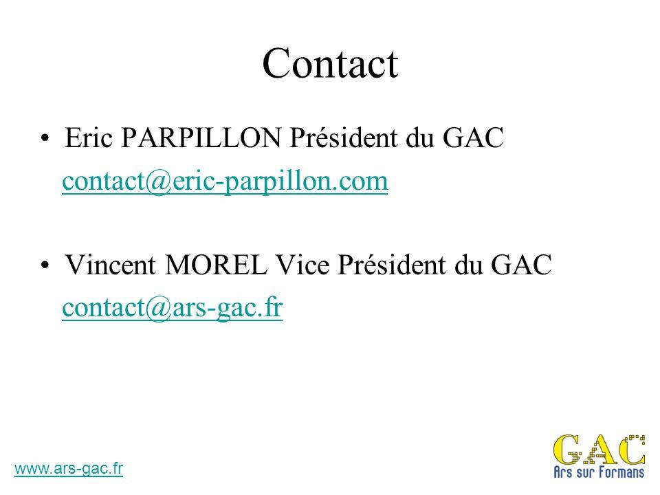 Contact Eric PARPILLON Président du GAC contact@eric-parpillon.com Vincent MOREL Vice Président du GAC contact@ars-gac.fr www.ars-gac.fr