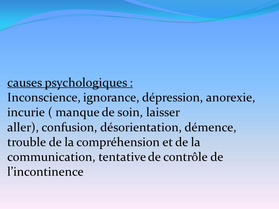 causes psychologiques : Inconscience, ignorance, dépression, anorexie, incurie ( manque de soin, laisser aller), confusion, désorientation, démence, t