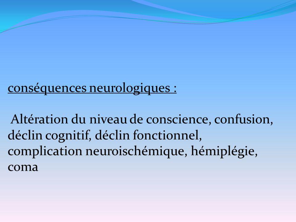 conséquences neurologiques : Altération du niveau de conscience, confusion, déclin cognitif, déclin fonctionnel, complication neuroischémique, hémiplé