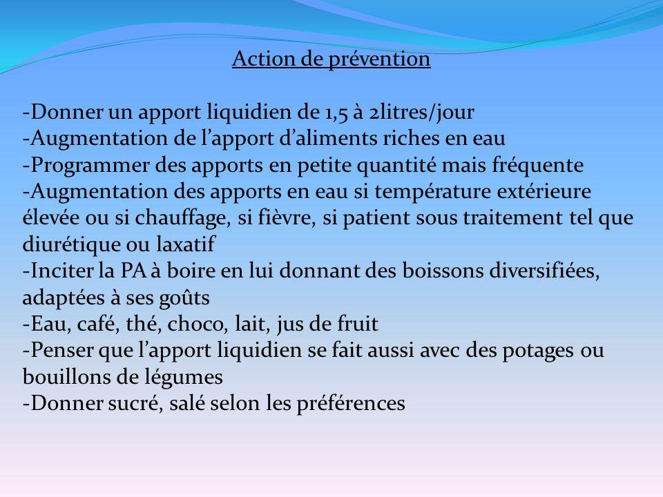 Action de prévention -Donner un apport liquidien de 1,5 à 2litres/jour -Augmentation de l'apport d'aliments riches en eau -Programmer des apports en p