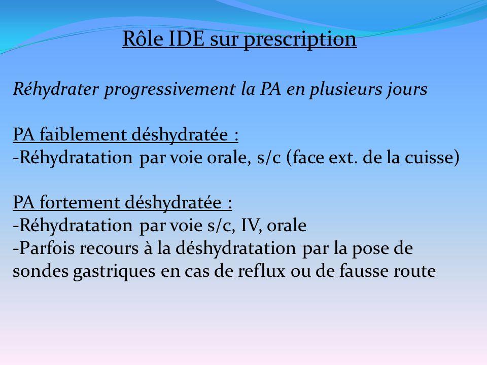 Rôle IDE sur prescription Réhydrater progressivement la PA en plusieurs jours PA faiblement déshydratée : -Réhydratation par voie orale, s/c (face ext