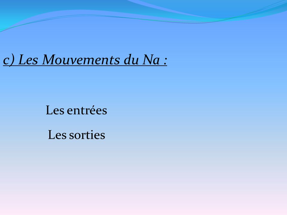 c) Les Mouvements du Na : Les entrées Les sorties
