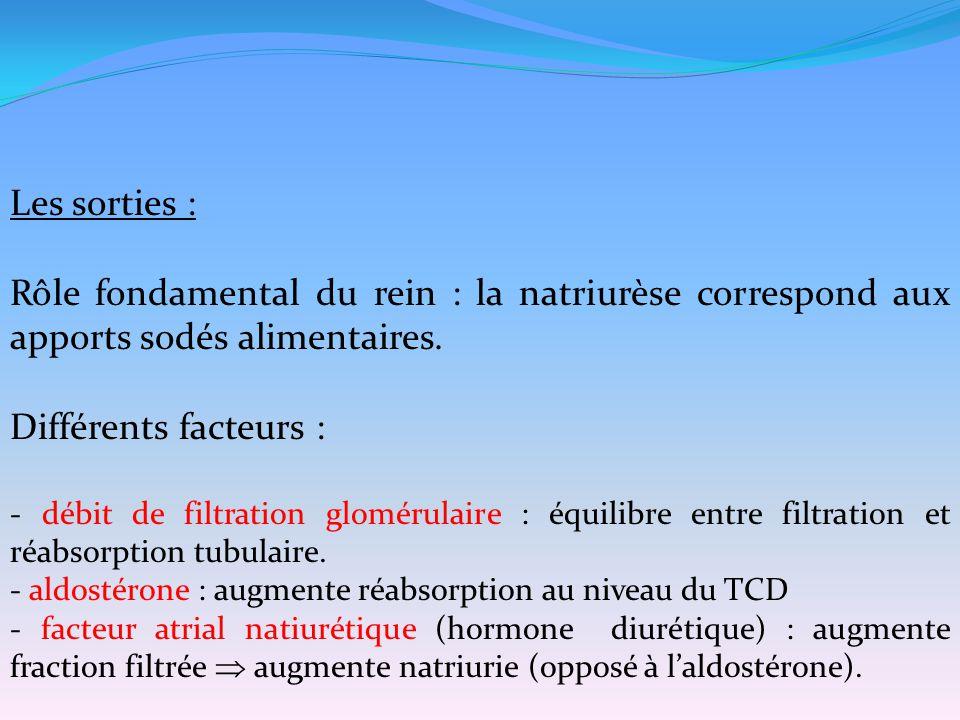 Les sorties : Rôle fondamental du rein : la natriurèse correspond aux apports sodés alimentaires. Différents facteurs : - débit de filtration glomérul
