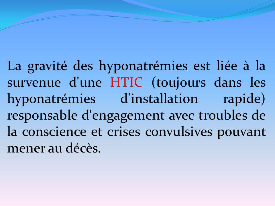 La gravité des hyponatrémies est liée à la survenue d'une HTIC (toujours dans les hyponatrémies d'installation rapide) responsable d'engagement avec t
