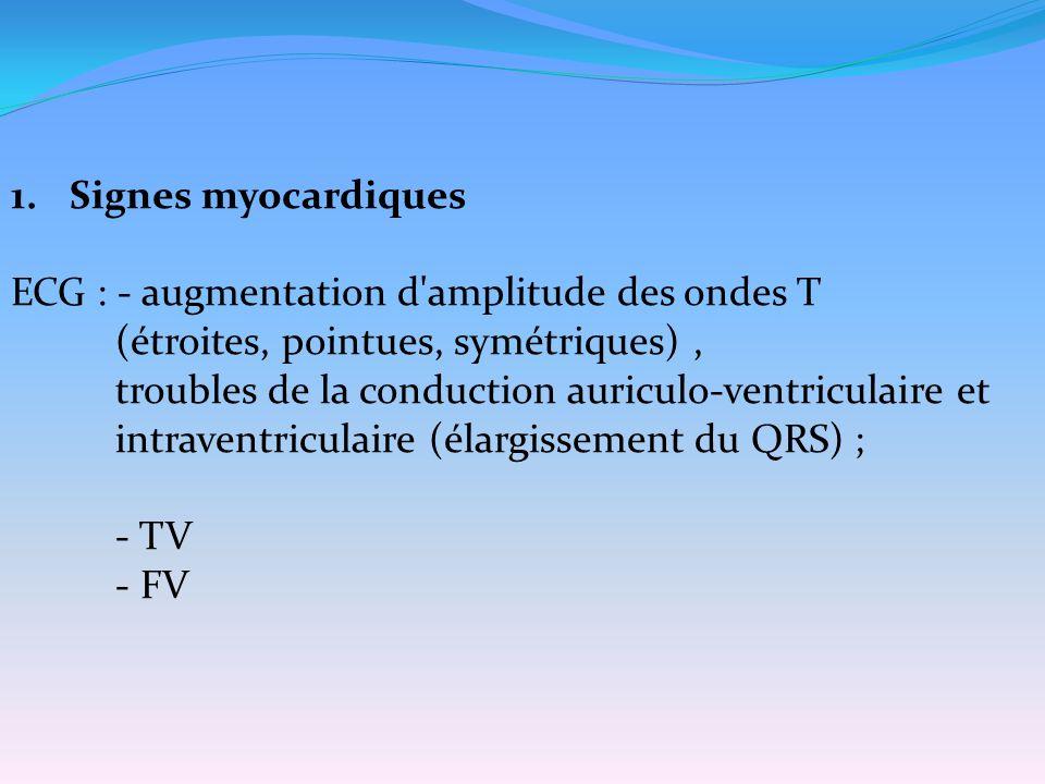 1.Signes myocardiques ECG : - augmentation d'amplitude des ondes T (étroites, pointues, symétriques), troubles de la conduction auriculo-ventriculaire
