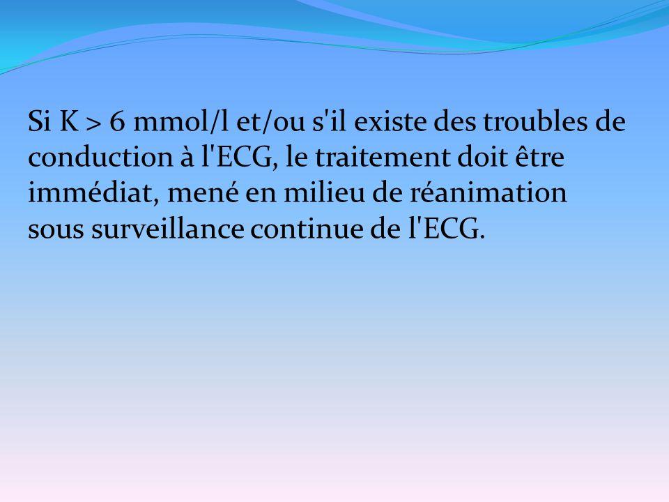 Si K > 6 mmol/l et/ou s'il existe des troubles de conduction à l'ECG, le traitement doit être immédiat, mené en milieu de réanimation sous surveillanc