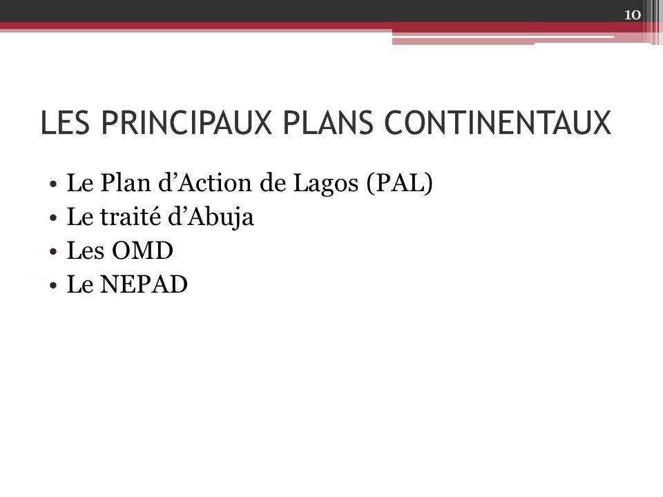 LES PRINCIPAUX PLANS CONTINENTAUX Le Plan d'Action de Lagos (PAL) Le traité d'Abuja Les OMD Le NEPAD 10