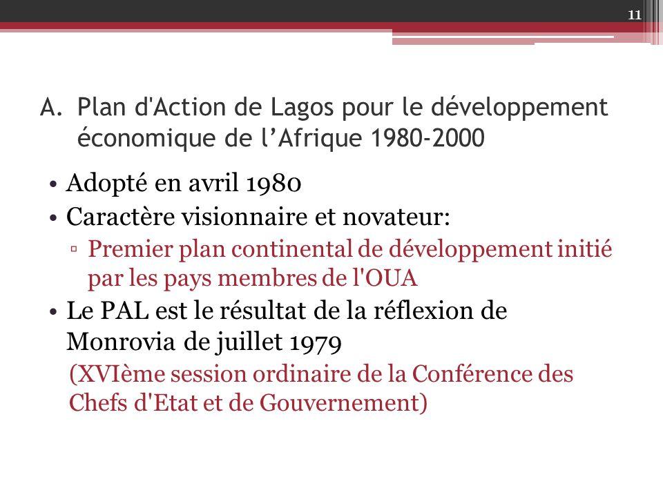 A.Plan d'Action de Lagos pour le développement économique de l'Afrique 1980-2000 Adopté en avril 1980 Caractère visionnaire et novateur: ▫Premier plan