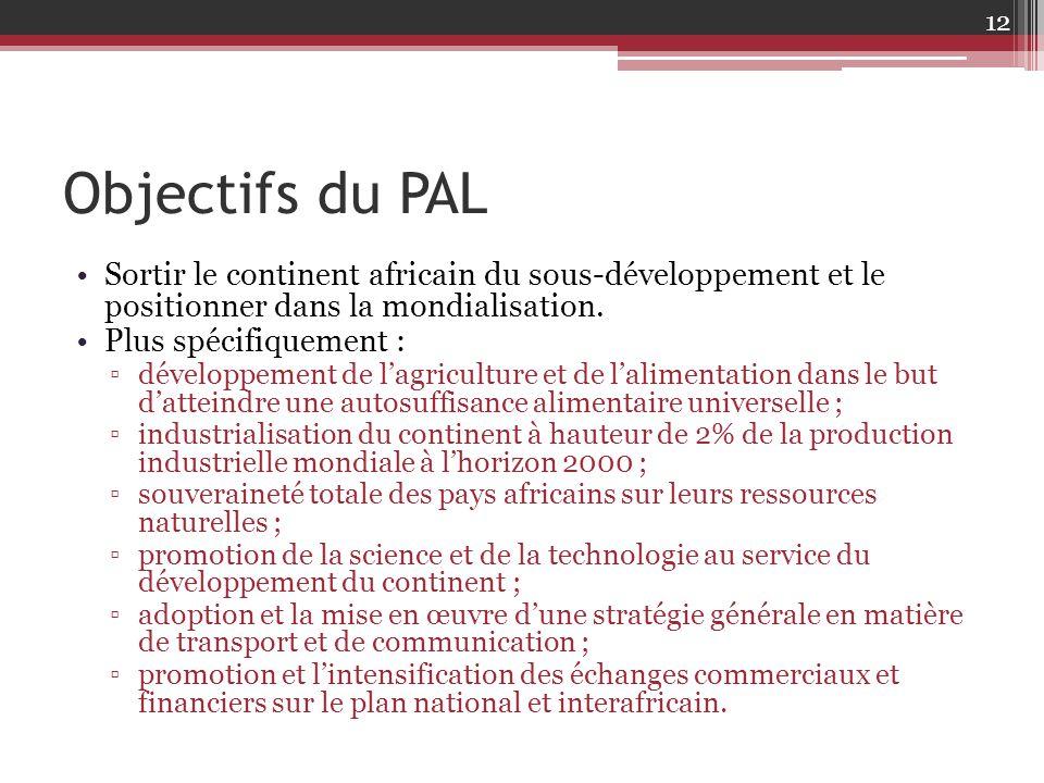 Objectifs du PAL Sortir le continent africain du sous-développement et le positionner dans la mondialisation. Plus spécifiquement : ▫développement de