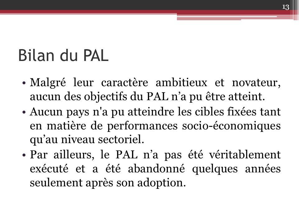 Bilan du PAL Malgré leur caractère ambitieux et novateur, aucun des objectifs du PAL n'a pu être atteint. Aucun pays n'a pu atteindre les cibles fixée