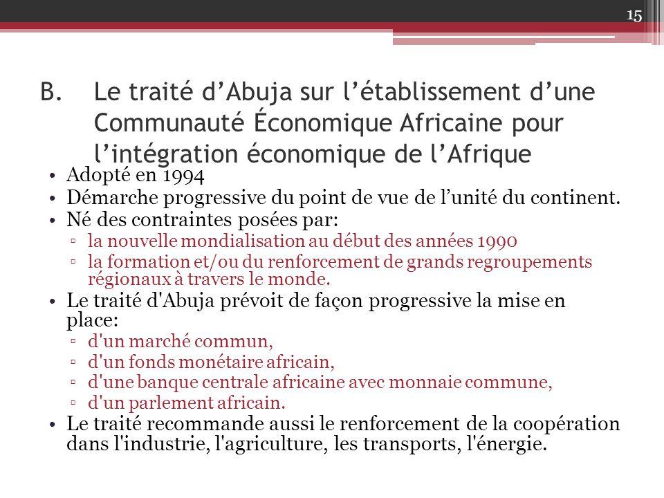 B.Le traité d'Abuja sur l'établissement d'une Communauté Économique Africaine pour l'intégration économique de l'Afrique Adopté en 1994 Démarche progr