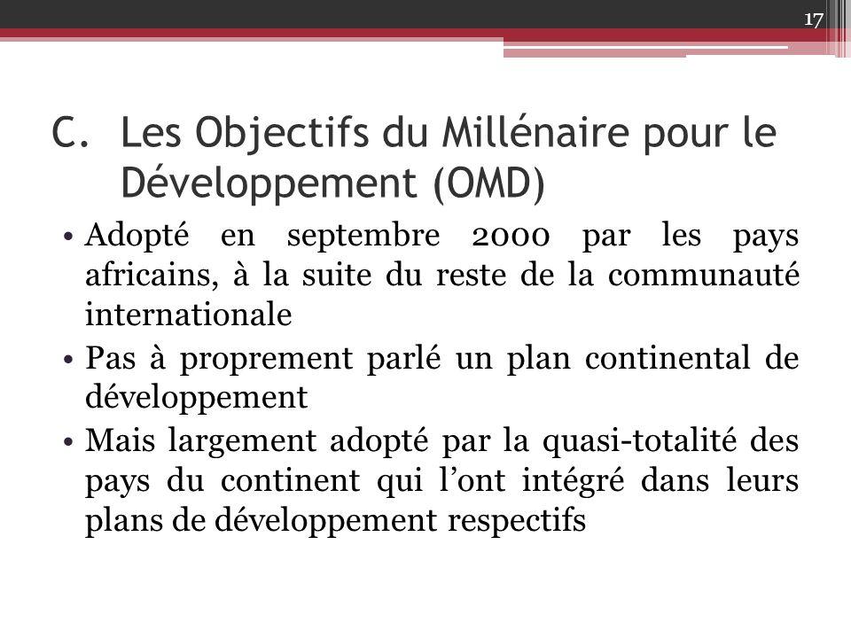 C.Les Objectifs du Millénaire pour le Développement (OMD) Adopté en septembre 2000 par les pays africains, à la suite du reste de la communauté intern